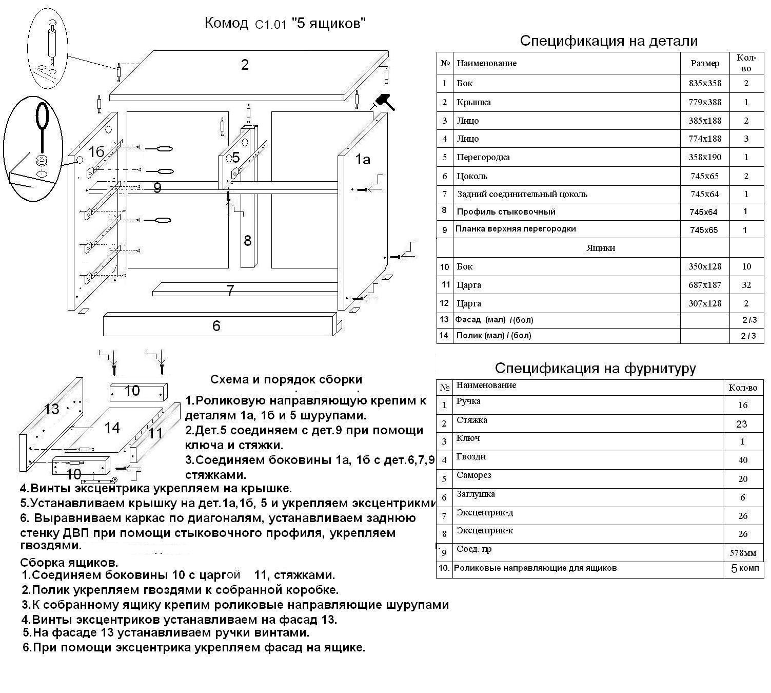 Схема сборки комода к 5